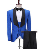 Royal Blue Wedding Tuxedos Groom Dress Suits Black Shawl Lapel  Menswear 3 Pieces (Jacket +pants+vest))