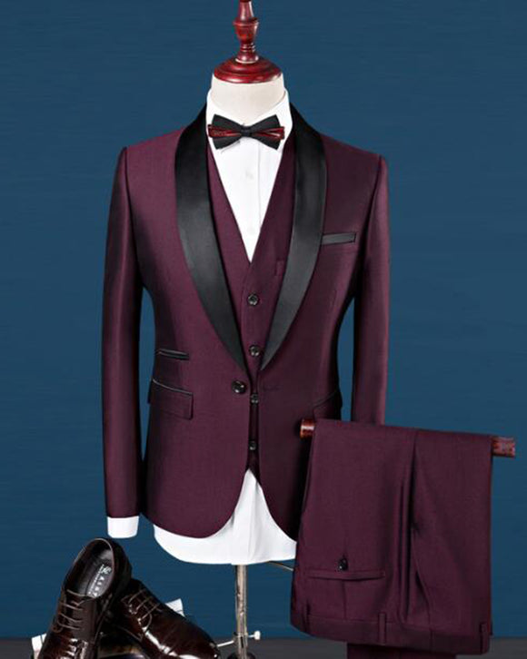 Burgundy Tuxedos One Button Black Shawl Lapel Formal Dress Suits for men CB0418