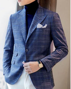 Wool Peak Lapel Two Buttons Menswear Dinner Dress Suit Blue Plaid Checked Mens Suits Jacket