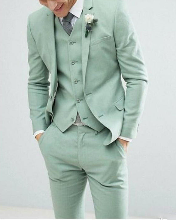 Pastel Mint Green Fashion Menswear Formal Tuxedos 3 Pieces Suits for Summer Wedding/ Prom Party (Jacket+vest+pants) CB0428)