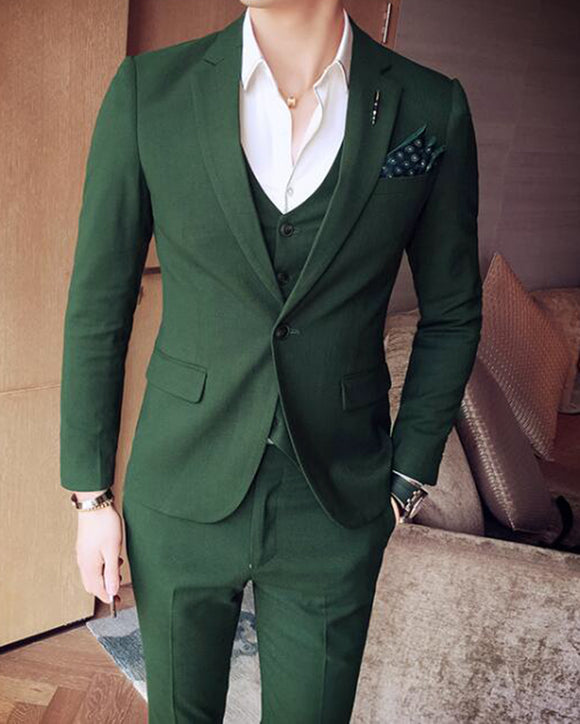 CB04281 Slim Fit Dark Forest Green notch lapel three Pieces Suits Men's Wedding Dress Tuxedos (Jakcet+pants+vest)