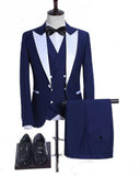 CB05151 Dark Royal Blue Wedding Suits 3 Pieces Peak Lapel Groomsmen Tuxedos Evening Dress for Men
