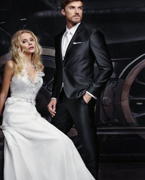 Slim Fit One Button Shiny Black Wedding Suits Peak Lapel Tuxedos 2 Pieces(Jacket+pants )CB05191)