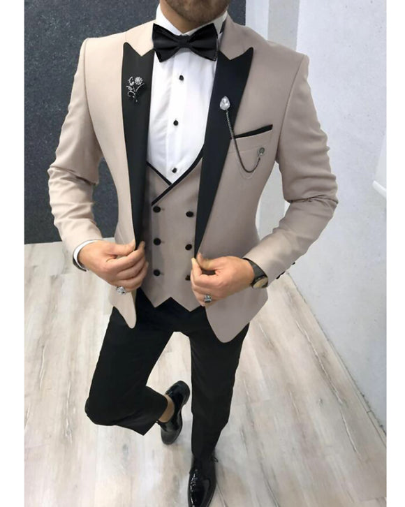 CB0603 Peak Lapel 3 Pieces Men's Formal Prom Dinner Tuxedos Beige Wedding Suits