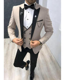 White Dinner Tuxedos Peak Lapel Mens Dress suists Jacket 3 Pieces CB0606