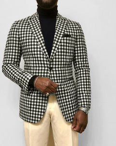 Fashionable Slim Fit Gingham Suits Blazer Jacket for Men Plaid Dress Suits 2020 CB0602