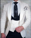 White/Champagen Groom Pattern Wedding Tuxedo Slim Fit 3 Pieces (Jacket+pants+vest)