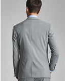 North Lapel Fitted Tailor Made Light Gray Wedding Suit for Men 3 Pieces Suits CB07142
