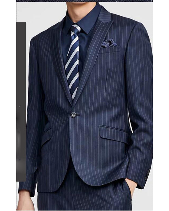 Stripe Navy Blue Business Men Dress Suits Fromal Dinner Jacket 2 Pieces (jacket+pants)