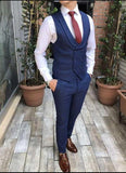 3 Pieces Groom Wedding Navy Blue Suits ,Blue Wedding Tuxedos ,Groom Suits CB0615