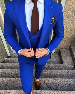 Classy 3 Pieces Suits Royal Blue Suit for Wedding Groom Wear  Trajes De Novio CB0616