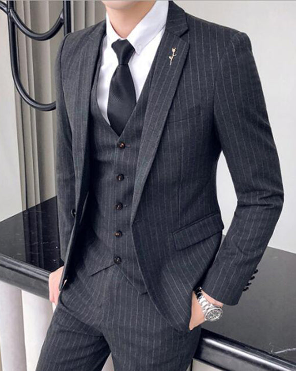 Slim Fit 3 Pieces Dark Grey Pinstripe Suits ,Wedding Suits Gray Men's Business /Dinner Suit CB06161