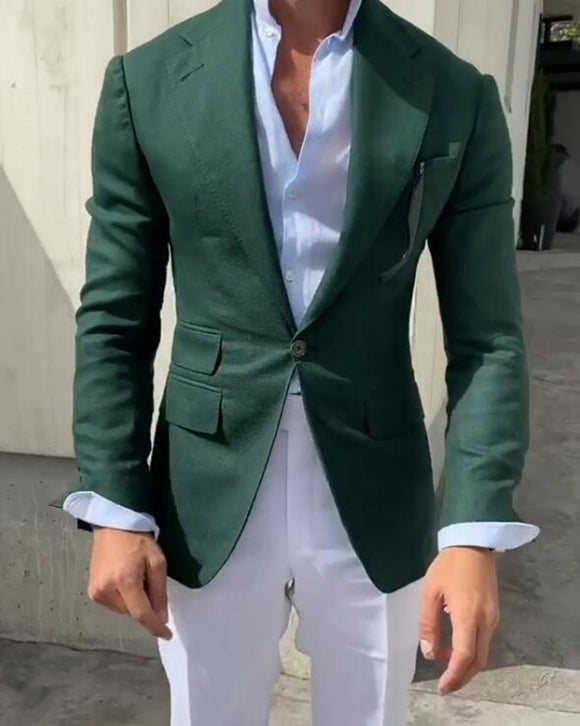 Fashion Casual Men Outifts Green Suit Blazer Men Jakcet One Piece