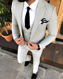 Slim Fit Summer Light Gray  3 Pieces Men Formal Dress Suits Prom Tuxedo ( Jacket+vest+pants) CB0519