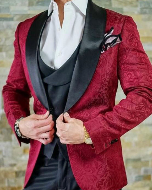 Burgundy Red Wedding Suits for Men Embossing Groom Tuxedos 3 Pieces (Jacket +Pants +vest)