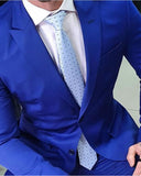 Peak Lapel Two Button Slim Fit Royal Blue Prom Suits , Formal Dinner Tuxedos 2Pieces (Jakcet+pants))CB07132
