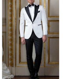 2 Pieces White Wedding Tuxedos For Men Black Peak Shawl Groom Formal Dress Suits ,costume mariage homme CB0721