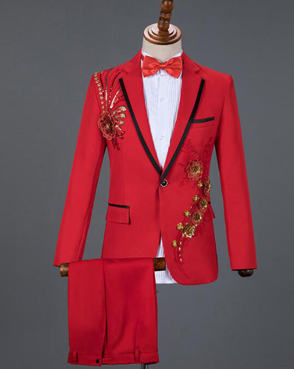 Red Sequin Embroidery Lace Floral Men Wedding Tuxedo One Button Stage Singer Costume CB07273