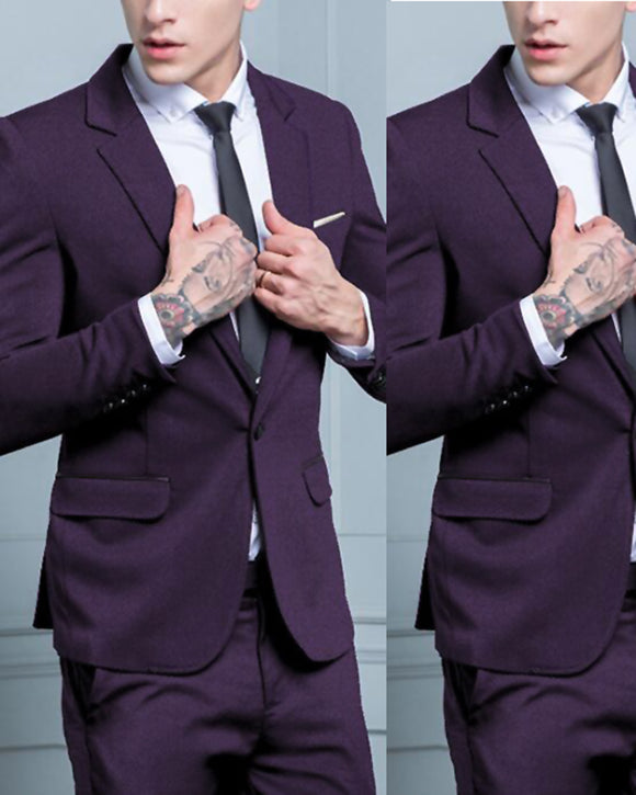 Dark Purple Dinner Jacket 2 Pieces Slim Fit Prom Suits for Men Formal Evening Dress Suit (Jacket+pants) CB0730