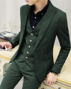 Dark Green 3 Pieces Men's Prom Suits Peak Lapel One Button Formal Wedding Dress Suits Dinner Jacket CB08071