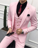 Slim Fit One Button Peak Lapel Blazer Wedding Pink Prom Suits 3 Pieces CB0806