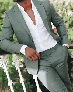 New Dusty Green Blazer Suits for Men,Casual Suits Summer Men Outfits 2 Pieces (Jacket+pants)CB0804