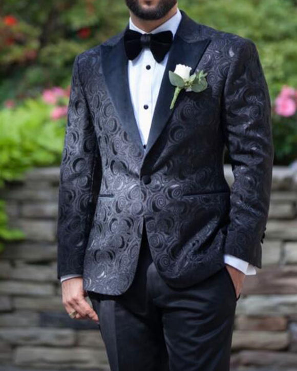 Black Jacquard Sports Suits,Peak Lapel Formal Dress Wedding Jacket for Men
