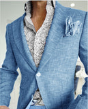 Blue Lino Tweed Blue Blazer Suits 2 Pieces Summer Casual Suits for Men (Jacket+Pants) CB0824