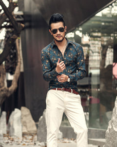 Flower Printed Long Sleeve Casual Shirts men TS0915