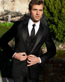 Classic Black Formal Dress Prom Suits for Men,Satin Peak Lapel Wedding Tuxedos for Wedding three Pieces (Jacket+pants+vest0 CB09264