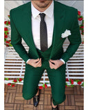 Solid Color Emerald /Forest Green Men's Prom Suits 3 Pieces Blazer Formal Wedding Suits Jacket outfits  CB0819