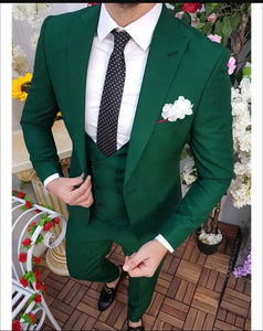 Solid Color Emerald Green Men's Prom Suits 3 Pieces Blazer Formal Wedding Suits Jacket outfits  CB0819