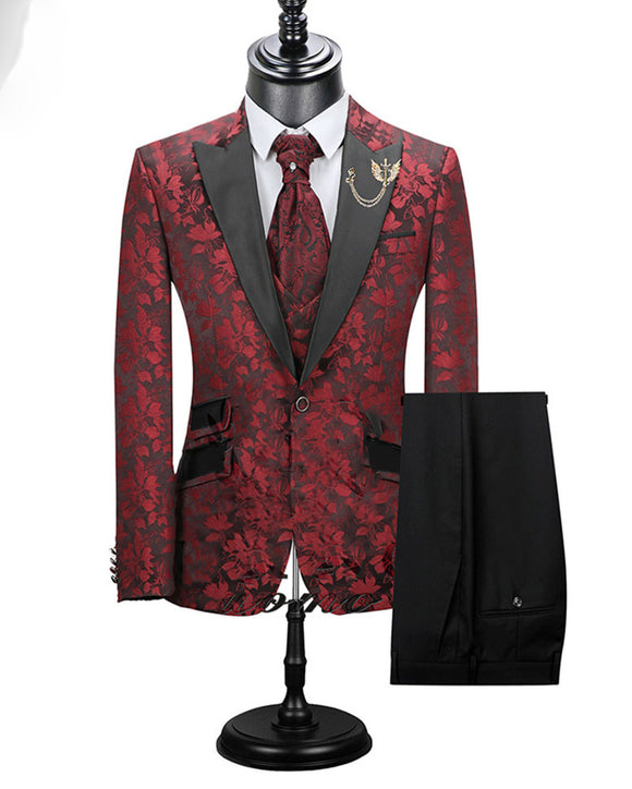 Burgundy Print Jacquard Wedding Groom Tuxedos Suits for Men Formal Suits 2 Pieces CP10072