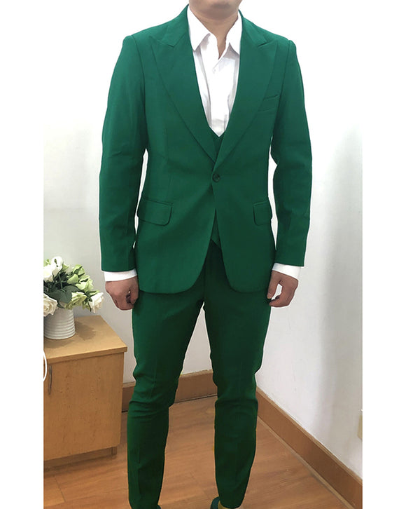 Peak Lapel Green Wedding Groomsmen Suits 3 Pieces Dress Prom Suits for Men CB01004