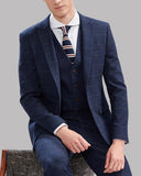 Gentlemen  Checked Pattern Plaid Suits 3 Pieces Blue Men's Business Suits Menswear Wedding Suit Men CB0921