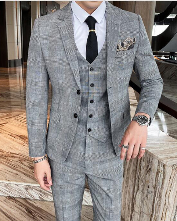 Classic Pattern Menswear Dogtooth Houndstooth Suit Checked 3 Pieces Suits (Jacket +Pants +vest)CB01125