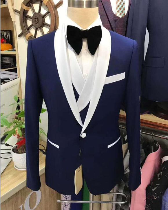 Navy /Green/Burgundy 3 Pieces Slim Fit Men's Wedding Suits Groom Tuxedo with Shawl Lapel (Jacket +vest +Pants),Prom Suits for Man  CB01214)