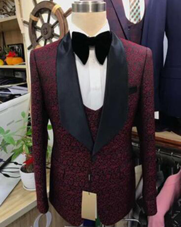 Burgundy Jacquard Pattern Suits Groom tuxedos for men Bridal outfit for wedding 3 Pieces CB103032