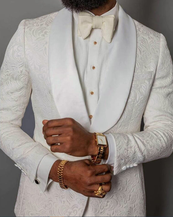 Ivory Wedding Suit for Black Men Suit Blazer Tuxedo two Pieces (jacket+pants)CB2130