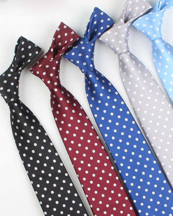 Classic White Dot Mulit  Color Ties For Men Silk Tie Mens Wedding Neckties Slim Necktie Gravata DT10108