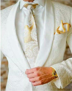 Ivory /White Jacquard Paisley Pattern Groom Tuxedos Wedding Blazer Jacket +Black Pants CB10202