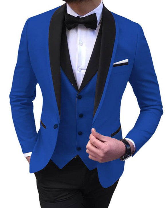 Classyby Blue Mens Suits 3 Piece Black Shawl Lapel Casual Tuxedos for Wedding Groomsmen Suits Men 2021 (Blazer+Vest+Pant) CB103031