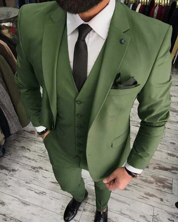 Dark Army Green Formal Dress Wedding Suits for Men 3 Pieces Prom Suits Brazer (Jacket+vest+pants) CB0801