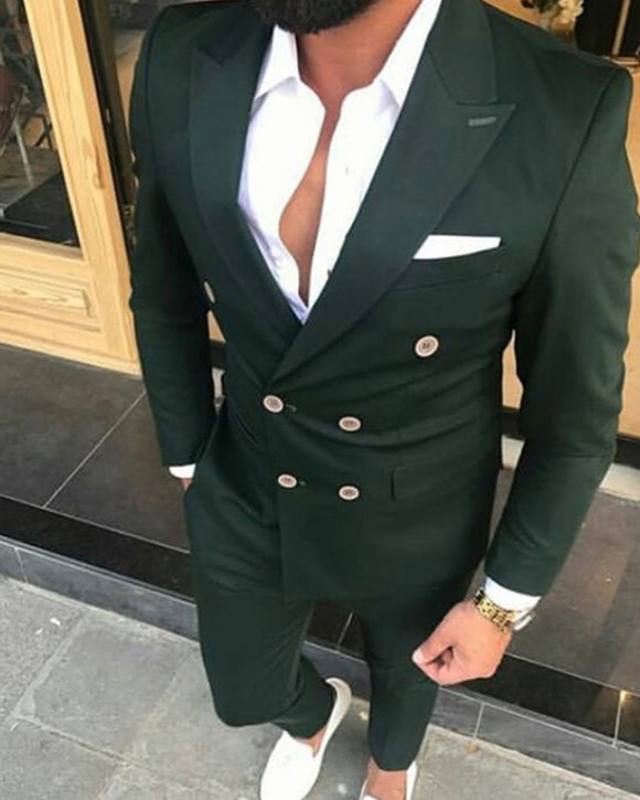 Double Breast 2 Pieces Drak Green Prom Suit for Men ,Fomal Party Dress Suits CB01124