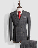 Classic 3 Pieces Peack Lepl Double Breast Plaid Checked Gray Formal Dress Suits for Men (Jacket +pants+vest) CB011243