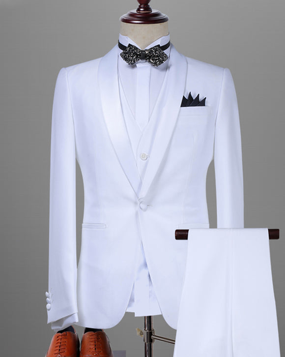 White Wedding Suits for Men, 3 Pieces Groom Tuxedos with Satin Lapel CB07293