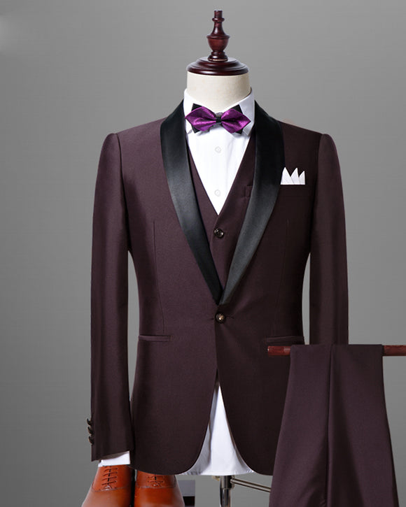 Slim Fit Solid Color Dark Maroon /Grape Wedding Tuxedos for Men,3 Pieces Dress Suits CB0731