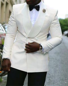 Satin Shawl Lapel Double Breast Ivory Wedding Tuxedos Suits for men's Balzer 2 Pieces Jacket+pant CB01223
