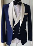 Slim Fit Navy Blue Wedding Tuxedos Suits Men Formal Dinner Dress Suit Groomsmen Wear 3 Pieces (Jacket+pants+vest)