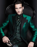 Latest Design Italian Green Men Suits Satin Slim Fit Formal Groom Prom Dress Tuxedo Male Coat 2 Piece Blazer Jacket+Pant